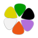Proper Code Ltd company logo resembling six symmetrical guitar-pick-like shaped splines arranged in circle, from top clockwise having green, black, purple, red, white and yellow colour